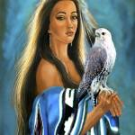 """Native American maiden with falcon"" by Unique_designs"