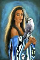 Native American maiden with falcon