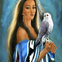 Native American maiden with falcon Art Prints & Posters by Gina Femrite