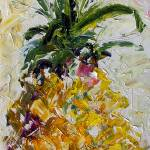 """Modern Pineapple Expressive Oil Painting"" by GinetteCallaway"