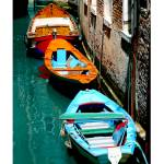 """EE-025 Colored Boats in the Canal"" by marywhitmer"