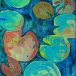 """Pond Gemstones 2 Abstract Waterlily Pad Art Modern"" by schulmanart"