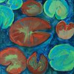 """Pond Gemstones 1, Abstract Modern Art Lily pads"" by schulmanart"