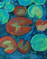 Pond Gemstones 1, Abstract Modern Art Lily pads