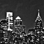 """Philadelphia Skyline Panorama - Monochrome"" by jb265536"
