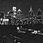 """Philadelphia Skyline Panorama - B&W Photo"" by jb265536"