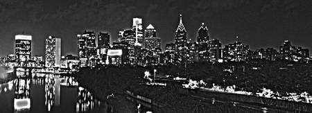 Philadelphia Skyline Panorama - B&W Photo