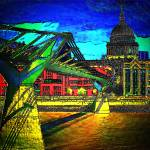 """St Pauls Cathedral and the Millennium Bridge"" by ianjeffrey"