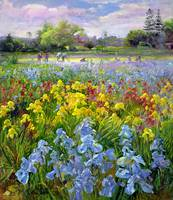 Hoeing Team and Iris Fields by Timothy Easton