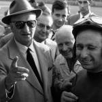 """Juan Manuel Fangio with Enzo Ferrari 1956"" by roadandtrackphotos"