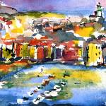 """Vernazza Italy Watercolor Painting by Ginette"" by GinetteCallaway"