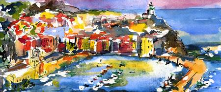 Vernazza Italy Watercolor Painting by Ginette