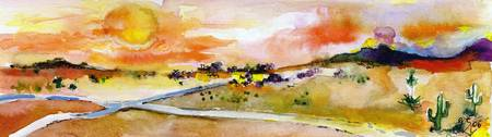 Watercolor Painting Landscape Crossroads Sun