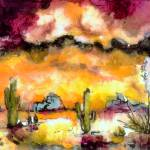 """Arizona Sunset Landscape Painting"" by GinetteCallaway"