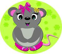 Cute Mouse with Floral Background