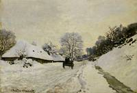 The Cart, or Road under Snow at Honfleur, 1865 (oi
