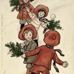 """Children with Holly Throwing Snowballs (colour lit"" by fineartmasters"