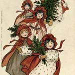 """Little Girls with Holly and the Christmas Tree by"" by fineartmasters"