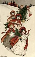Little Girls with Holly and the Christmas Tree by