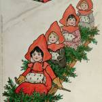 """Four Little Girls on a Sledge (colour lithograph)"" by fineartmasters"