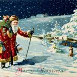 """Father Christmas in the snow, Victorian card Santa"" by fineartmasters"