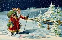 Father Christmas in the snow, Victorian card Santa