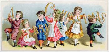 'A Merry Christmas', Victorian postcard (colour li