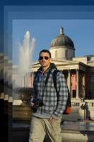 Tourist at Trafalgar Square, London