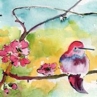 """Hummingbirds ; Pink Blossoms Watercolor Ginette"" by GinetteCallaway"