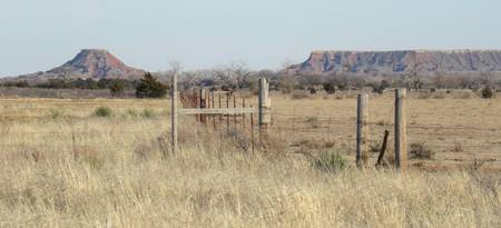 Fence at Gloss Mountains in NW Oklahoma No. 2