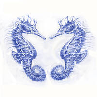 two seahorses-blue