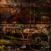 Steam train industrial collage