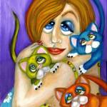 """Cat Lover in Pop Surrealism"" by AlmaLee"