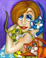 Cat Lover in Pop Surrealism