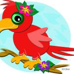 """Red Parrot with a Flower"" by theblueplanet"