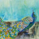 """Peacock Paparazzi, teal peacock print"" by schulmanart"