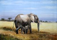 Mother Elephant and her child on a walk