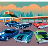 Vintage cars and diner Art Prints & Posters by Bob Scott
