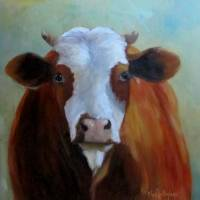 Daffodil Cow Painting Art Prints & Posters by Cheri Wollenberg