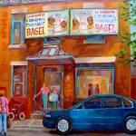 """PAINTINGS OF MONTREAL STREETS FAIRMOUNT BAGEL SHOP"" by carolespandau"