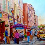 """PAINTINGS OF OLD MONTREAL LA CREME DE LA CREME CAF"" by carolespandau"