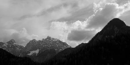 Kranjska Gora in black and white