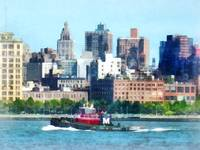 Tugboat Against Manhattan Skyline