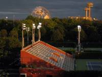 The Unisphere and the NY State Pavilion