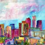 """Atlanta Visions, Watercolor abstract skyline paint"" by schulmanart"