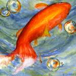 """""""Koi Fish in Bubbles"""" by Lenora"""