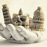 """Hand holding architectural structures"" by WallArtDeco"