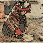 """Peruvian woman in traditional dress at work"" by WallArtDeco"