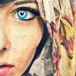 """Blue Eye classic watercolor portrait painting"" by rustydoubleohseven"