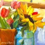 """Flowers In My Window!"" by normawilsonfineart"